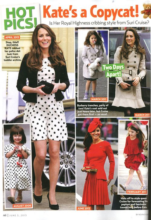 From Suri's Burn Book: I mean, didn't everybody already know how much she likes to steal from me? My style, my haircuts, my livelihood, everything. Bravo, Us Weekly. Quality journalism.
