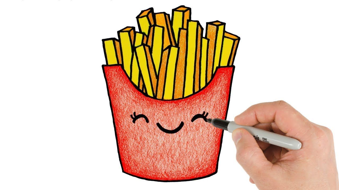 How To Draw French Fries Cute And Cartoon Drawing And Coloring