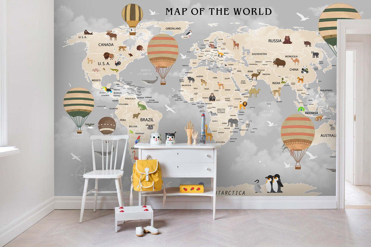 3d Kids Dark Cloud World Map Wallpaper Nursery Wallpaper Removable Wallpaper Peel And Stick Wall Mural Playroom Wallpaper Wall Decor Wallpaper Walls Decor Nursery Wallpaper World Map Wallpaper