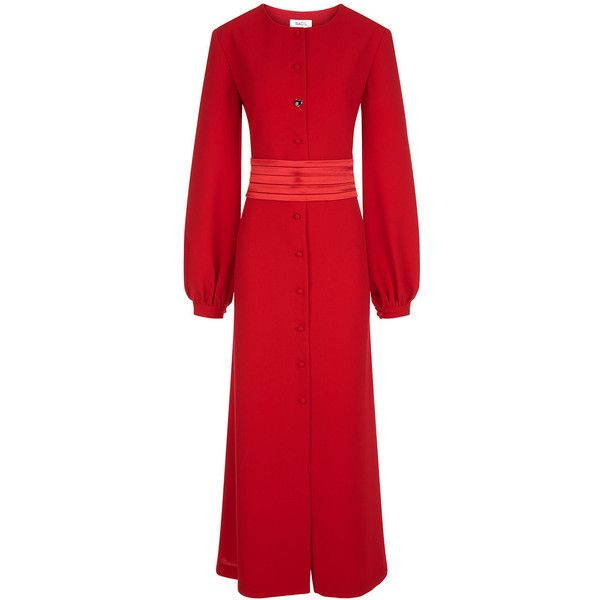 Racil Red Tux Belt Iman Dress ($860) ❤ liked on Polyvore featuring dresses, button down dress, midi cocktail dress, red evening dresses, calf length dresses and belted dresses