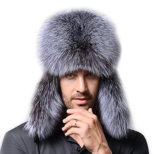 c2393a66f55e47 FURTALK Genuine Silver Fox Fur and Leather Russian Ushanka Hat * Check this  awesome product by going to the link at the image.