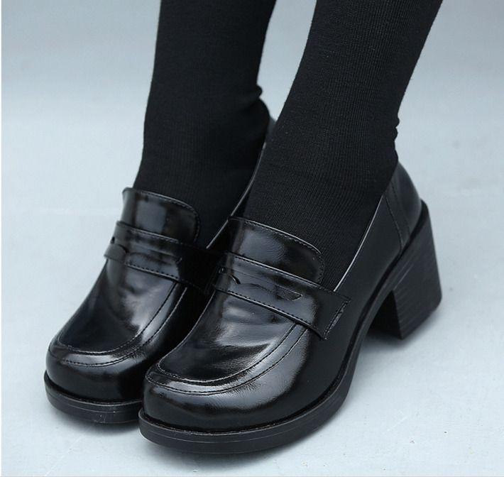 4f12446b3243 Hot Womens Bloclk Heels Shoes Japanese School Girls Slip On Brogue Oxfords  Pumps