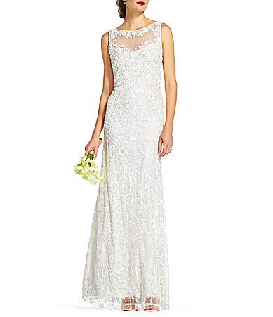 dfdbe9e3873 Adrianna Papell Round Neck Sleeveless Illusion Beaded Lace Gown  Dillards  Dillards Wedding Dresses