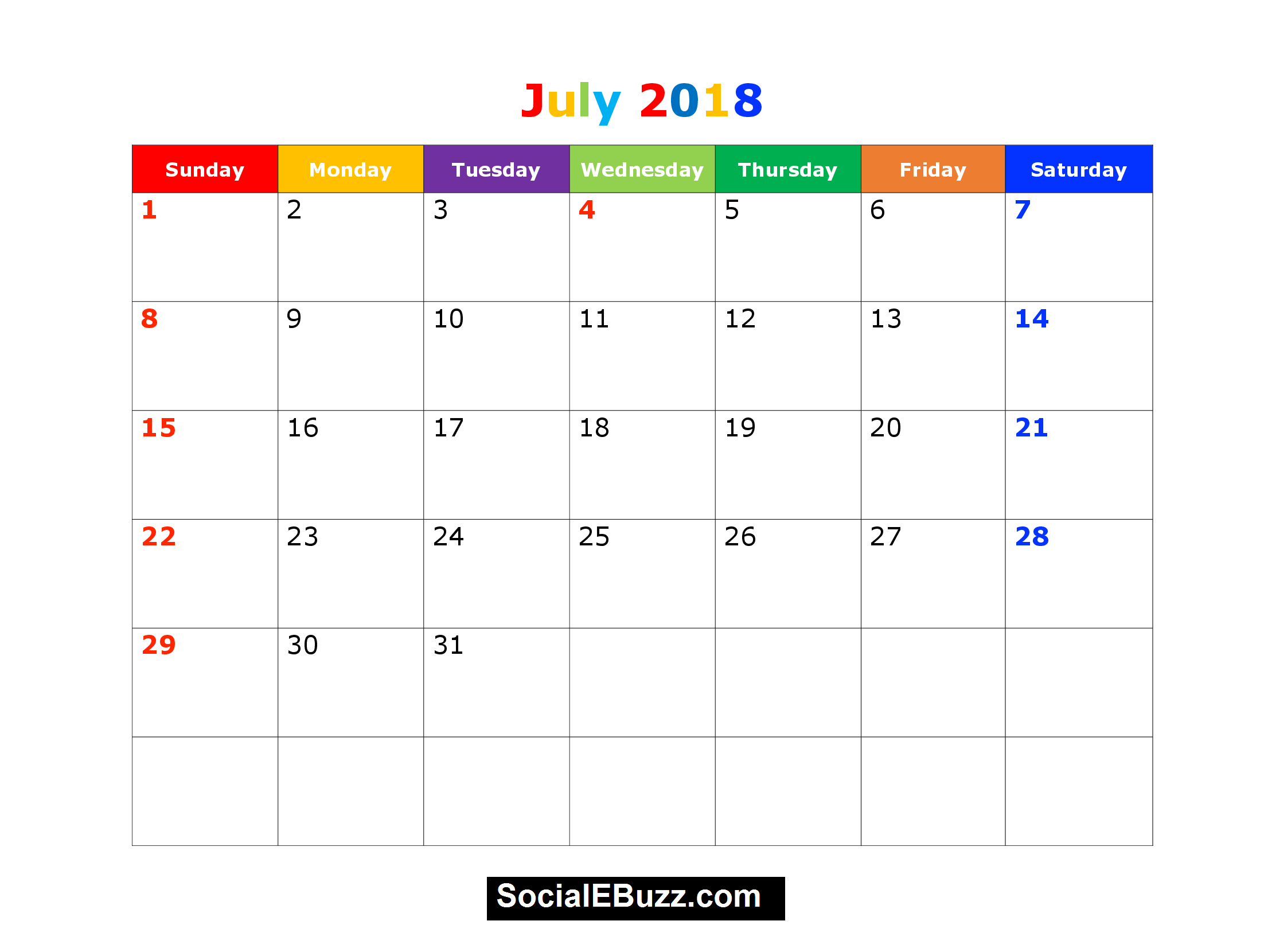 July  Calendar Printable Template With Holidays Pdf Usa Uk