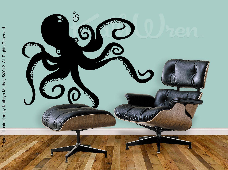 Gentil Octopus By KathWren   Original Vinyl Wall Decal