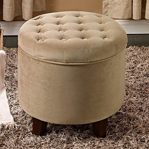 Remarkable Kinfine Usa Large Round Button Tufted Storage Ottoman Kin Pdpeps Interior Chair Design Pdpepsorg