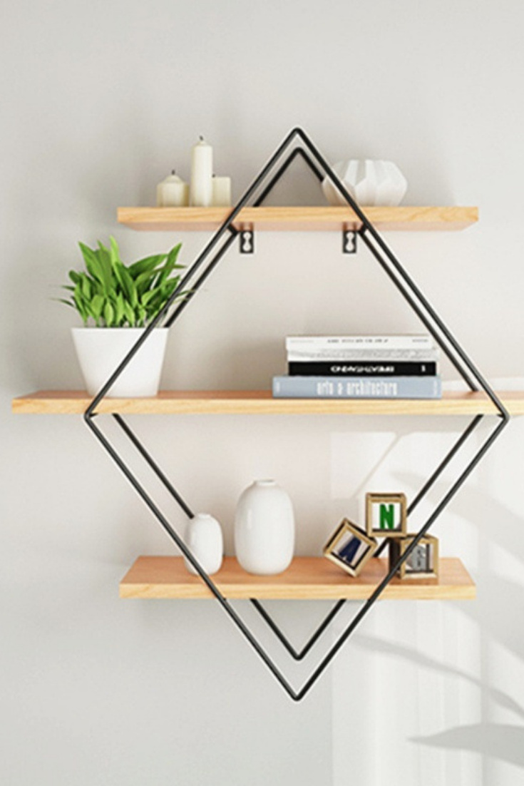 Iron Metal Retro Wood Wall Storage Shelves Rhombus Bookshelf Storage Holder Book Rack Modern Bedroom Office Kitchen Bathroom Decoration Hanging Rack Wish Wall Shelf Decor Diy Hanging Shelves Wall Storage Shelves