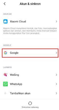 Cara hapus Akun Google Di Hp Xiaomi