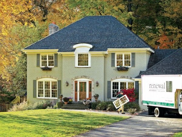 An Exterior Look At Our White Double Hung Windows With Colonial Style Grilles Double Hung Windows Double Hung Windows