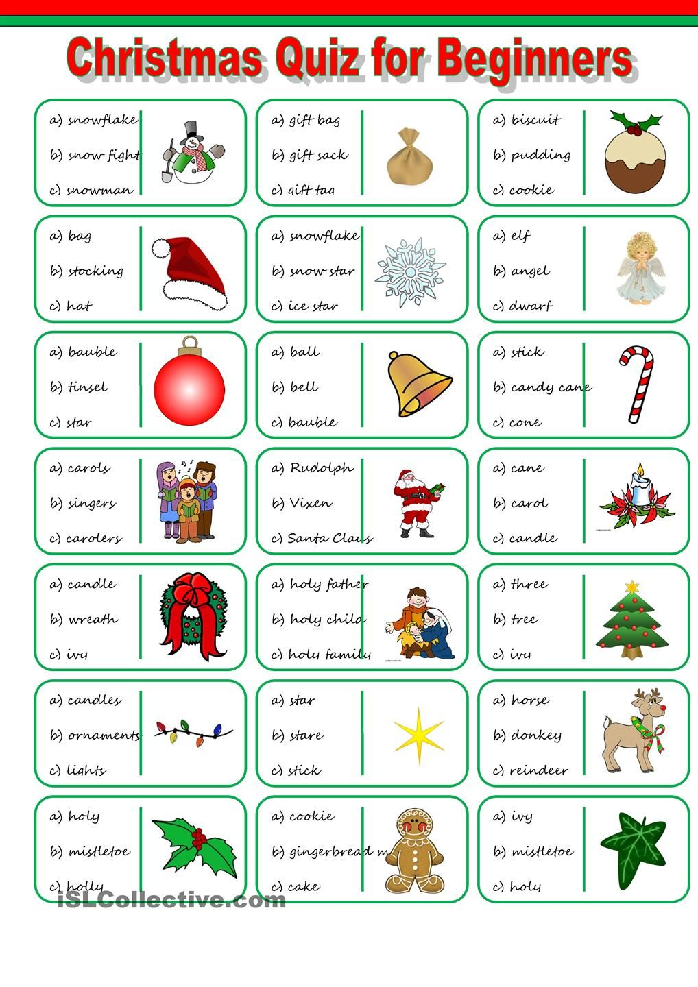 Christmas Vocabulary Quiz Christmas worksheets