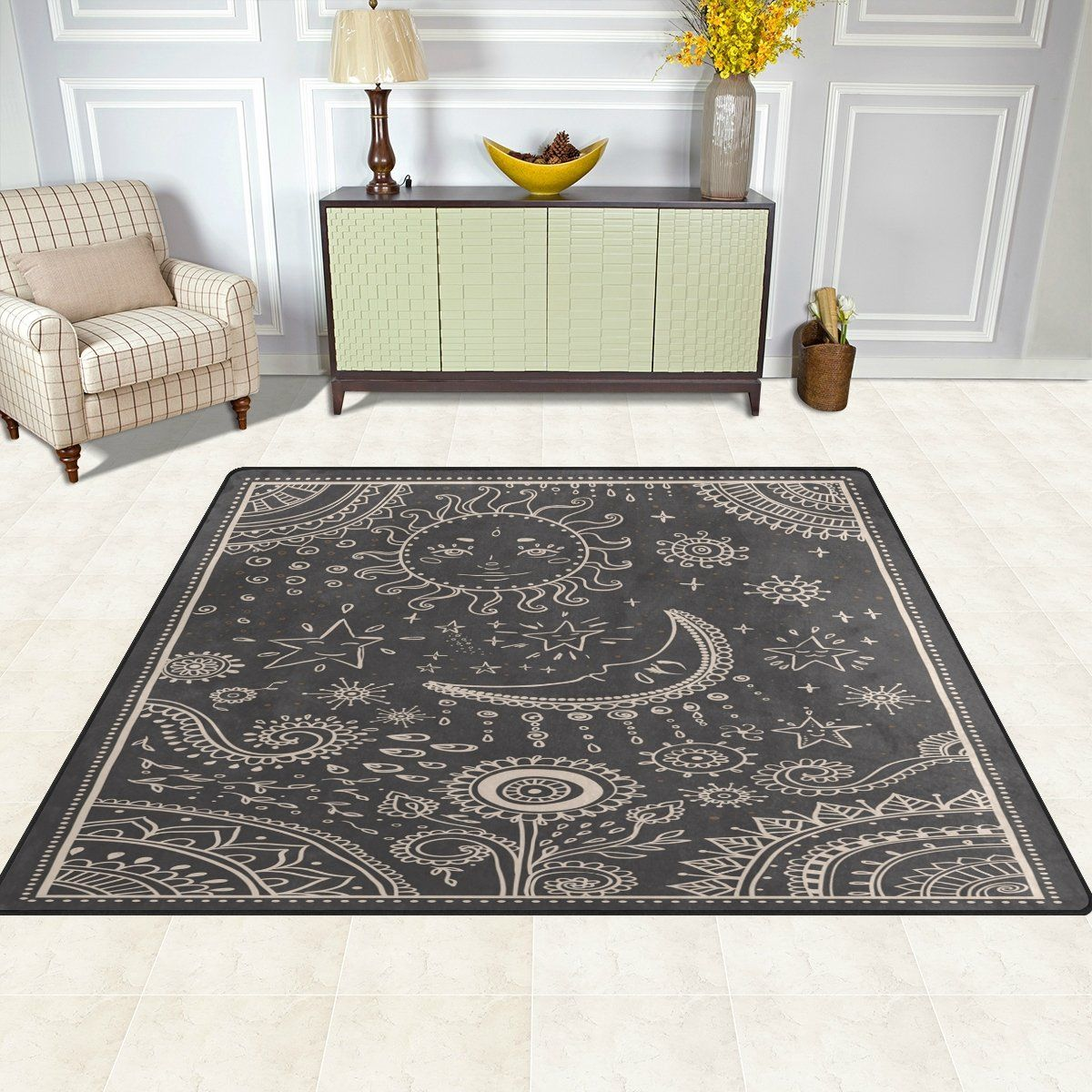 Alaza Vintage Moon Sun Star Sunflower Area Rug Rugs For Living Room Bedroom 53 X 4 Check Out This Great Product Is An Affiliate Link