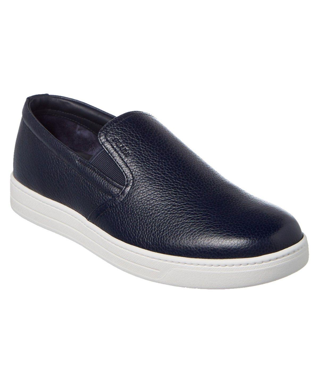 Prada Men's Leather Slip On Sneakers