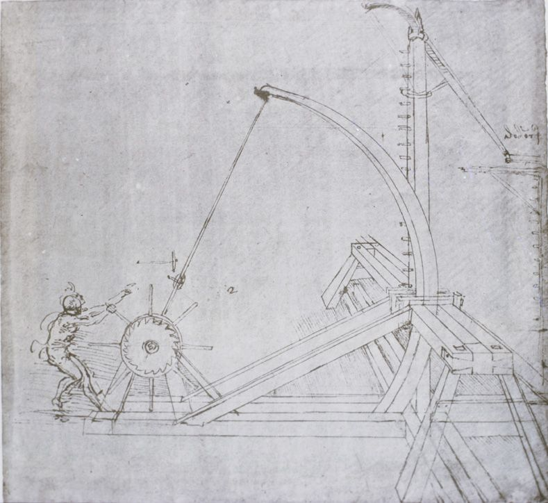"Design for a catapult, from the ""Codex Atlanticus,"" fol"