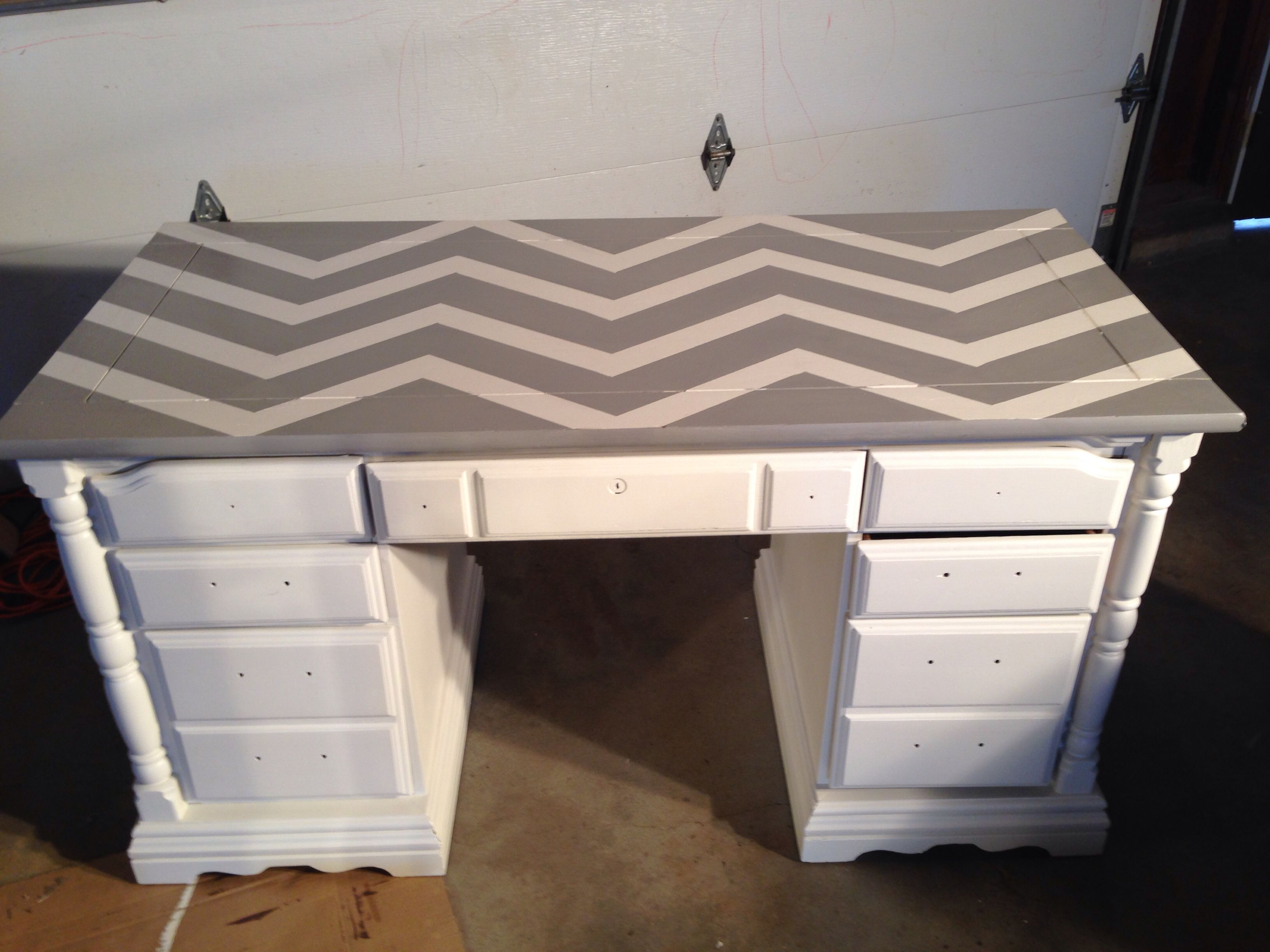 Painted this desk with cream and grey