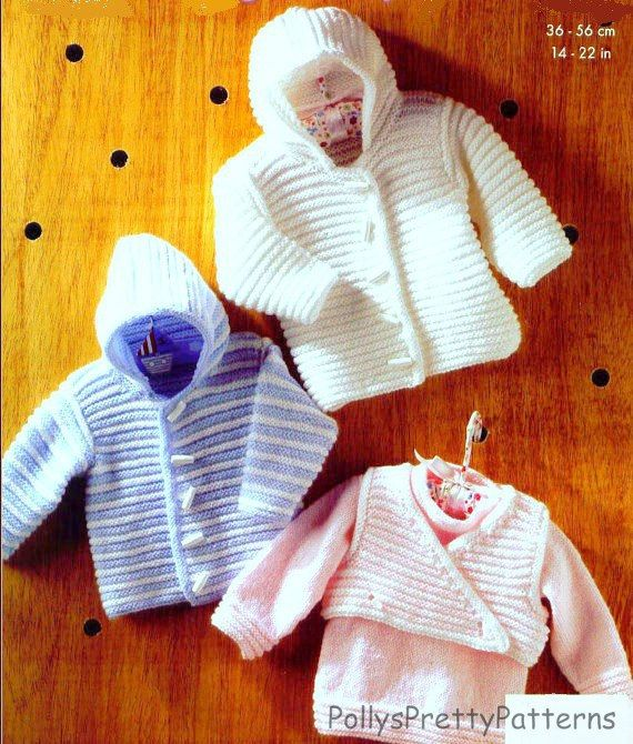 Pdf Knitting Pattern Babys Hooded Jacket Sweater And Body Warmer