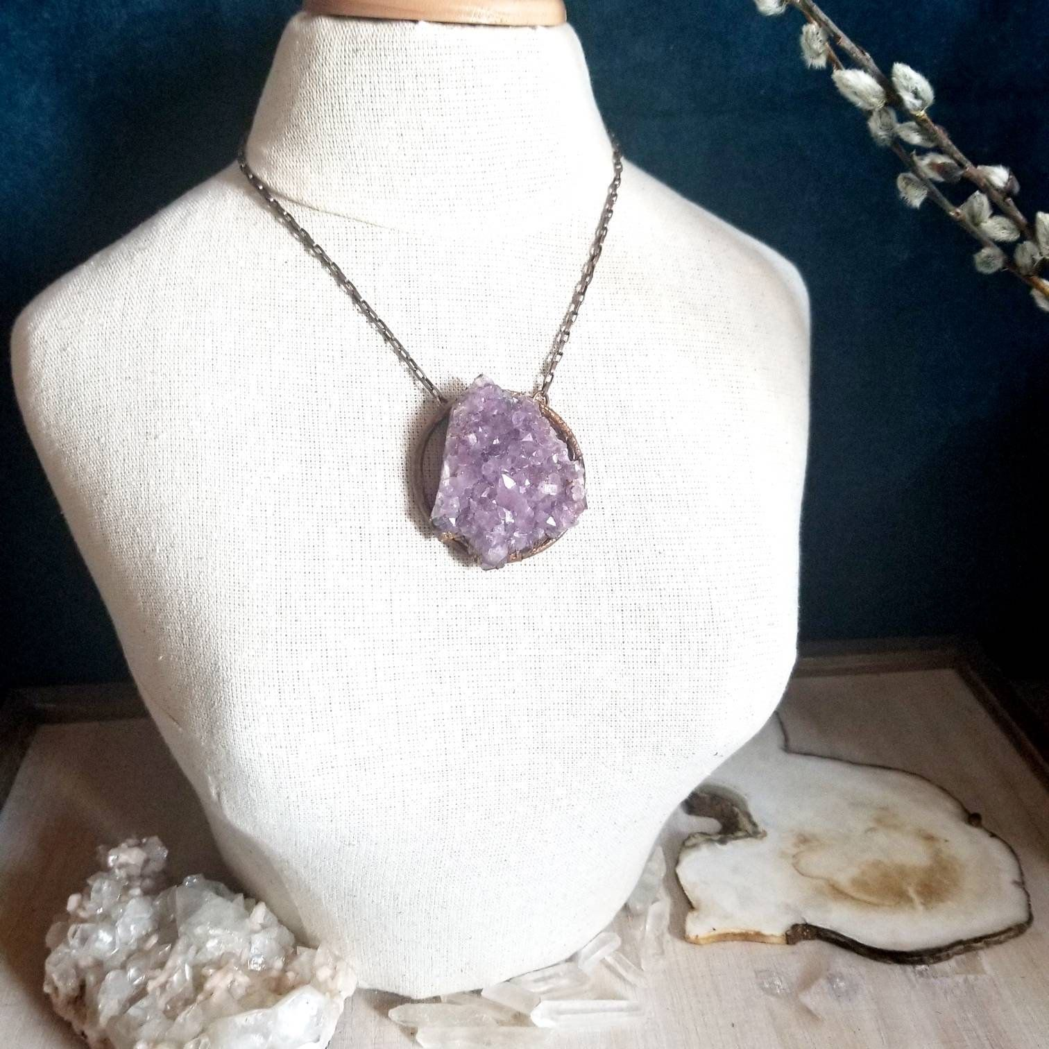 Large Raw Amethyst or Quartz Crystal Necklace Healing Crystals Chunky Natural Stone Statement Necklace Rough Quartz or Amethyst Jewelry