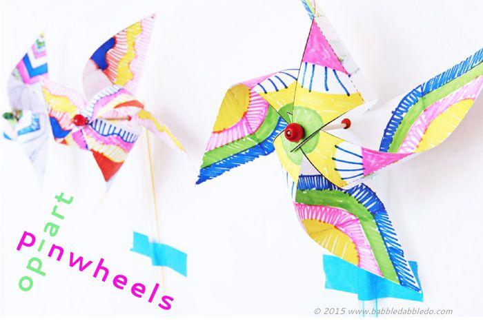 Kids Paper Crafts: Op-Art Pinwheels | Artesanía de papel, Molinillos ...