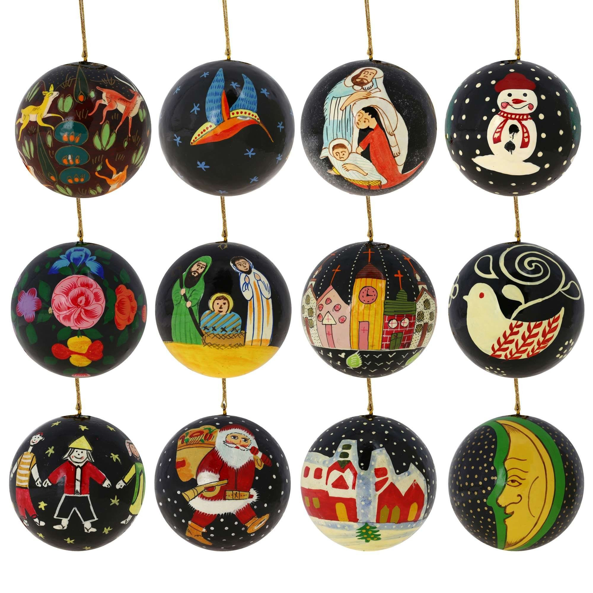Amazon Com Set Of 12 Black Paper Mache Christmas Ornaments Handmade In Kashmir Paper Mache Christmas Black Christmas Decorations Christmas Decorations Cheap