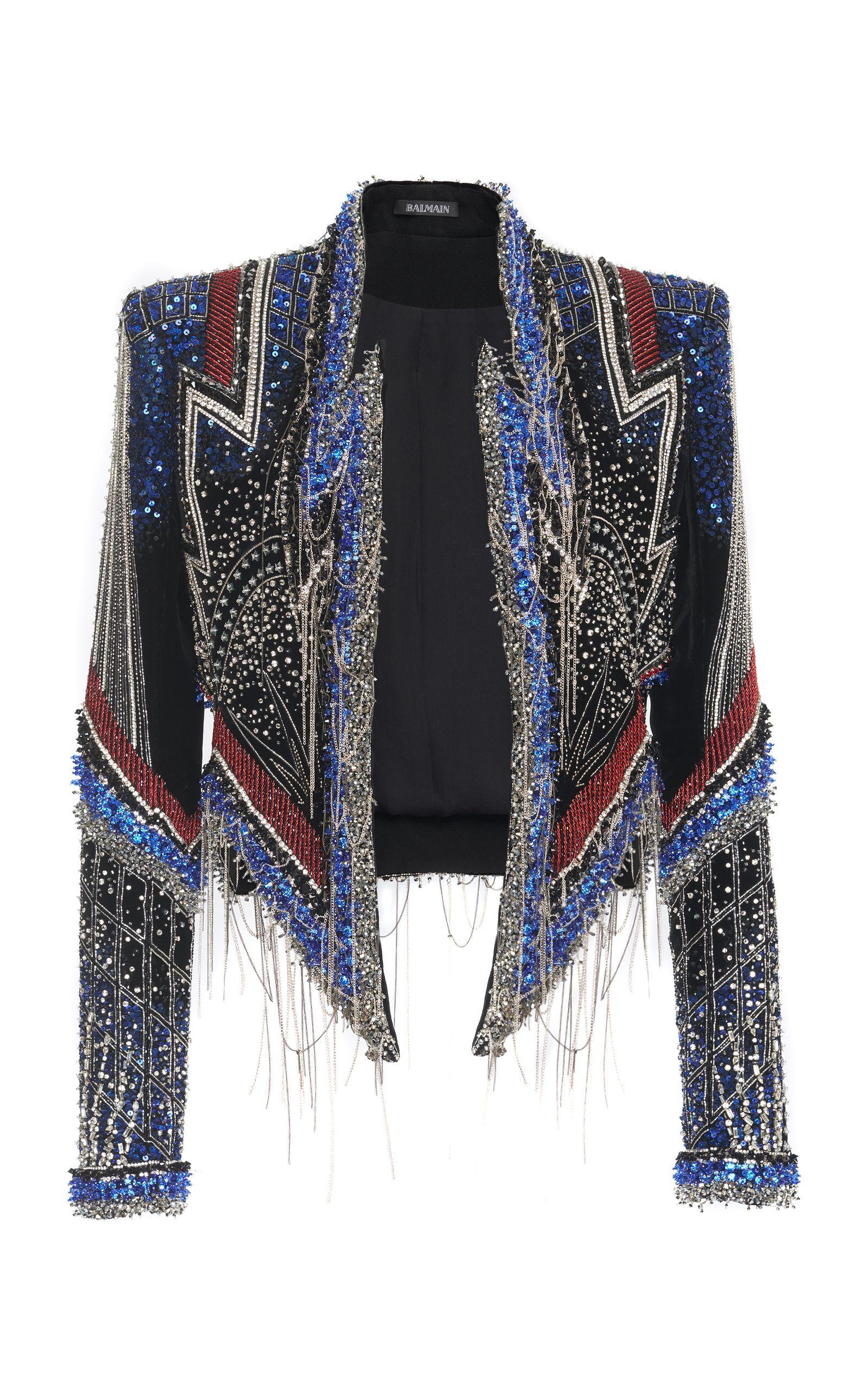 f3668380 Embroidered Fringe Hem Jacket by BALMAIN for Preorder on Moda Operandi