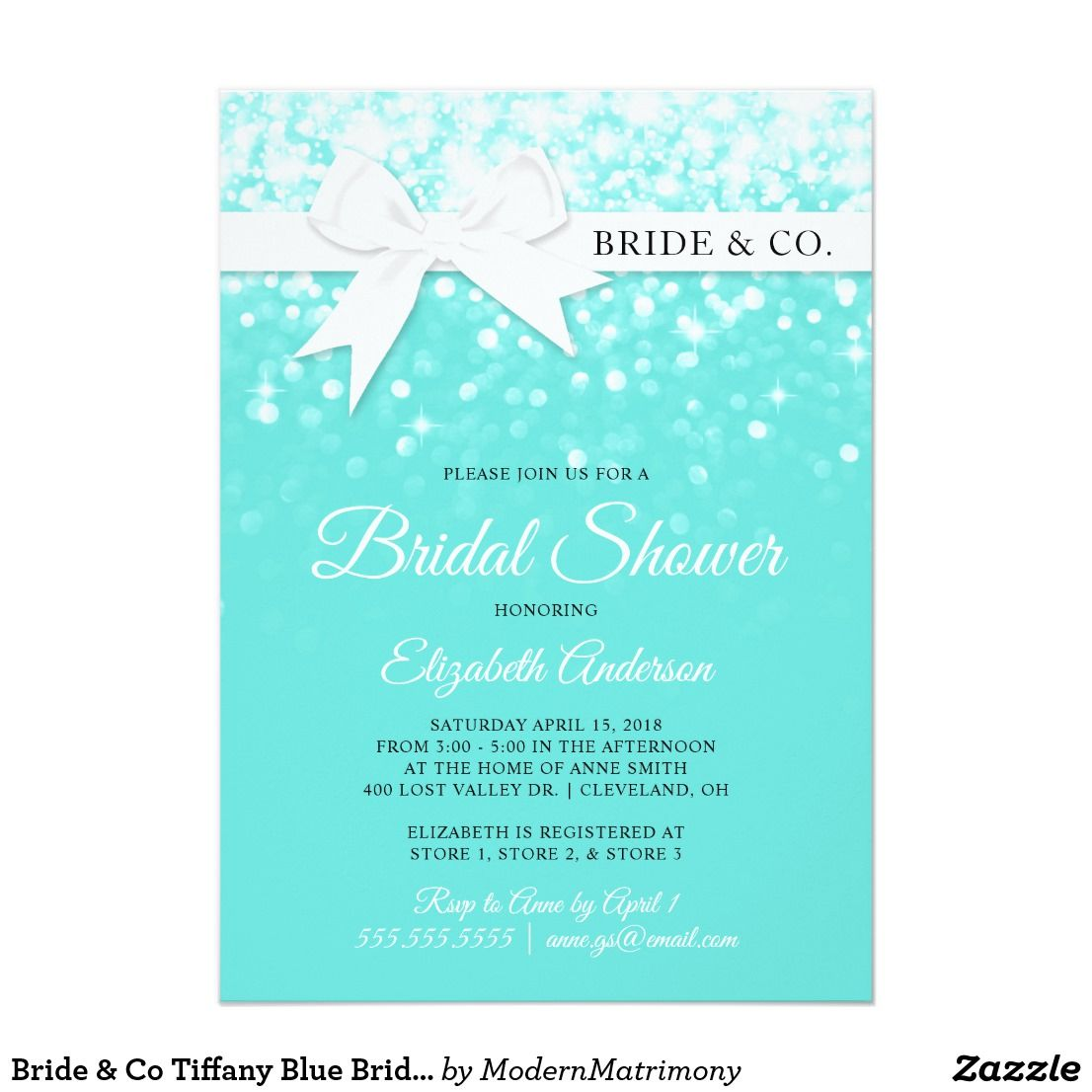 Bride Co Tiffany Blue Bridal Shower Invitation A Charming Femi Blue Bridal Shower Invitations Tiffany Blue Bridal Shower Invitations Tiffany Blue Baby Shower