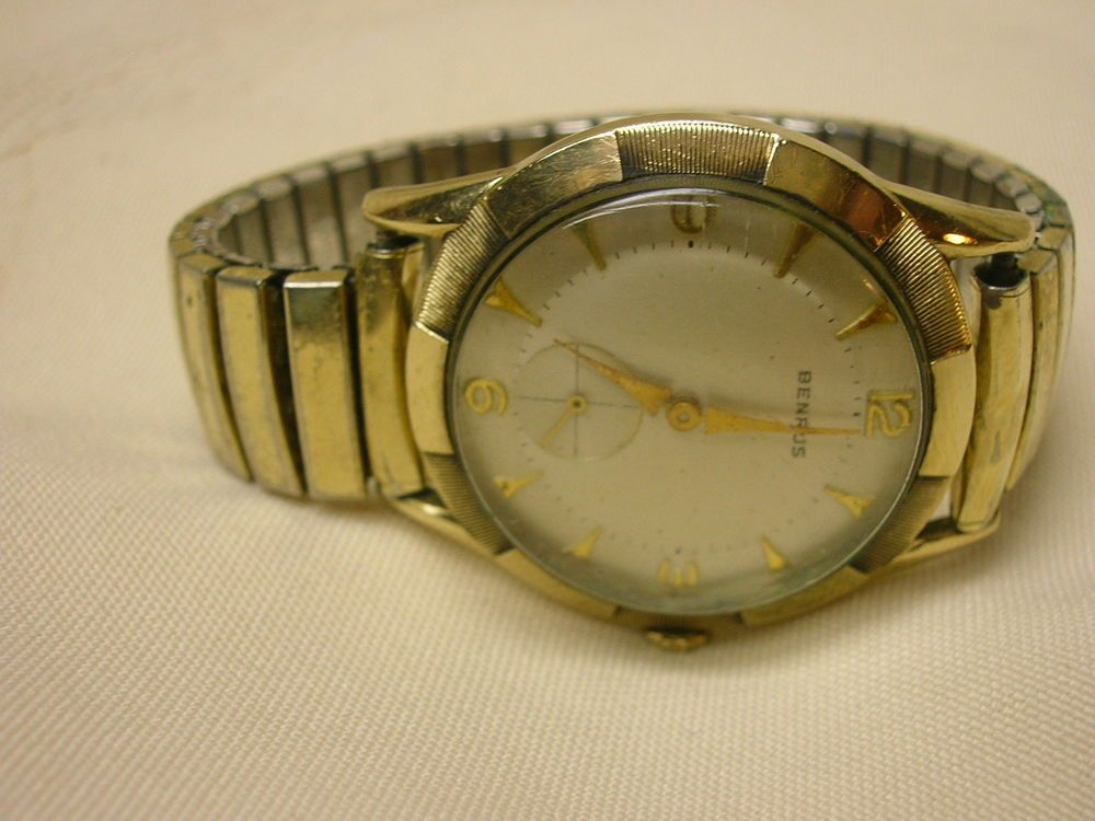 Vintage Men's Benrus Watch for Parts or Repair Speidel Band 10k Gold Filled #Benrus