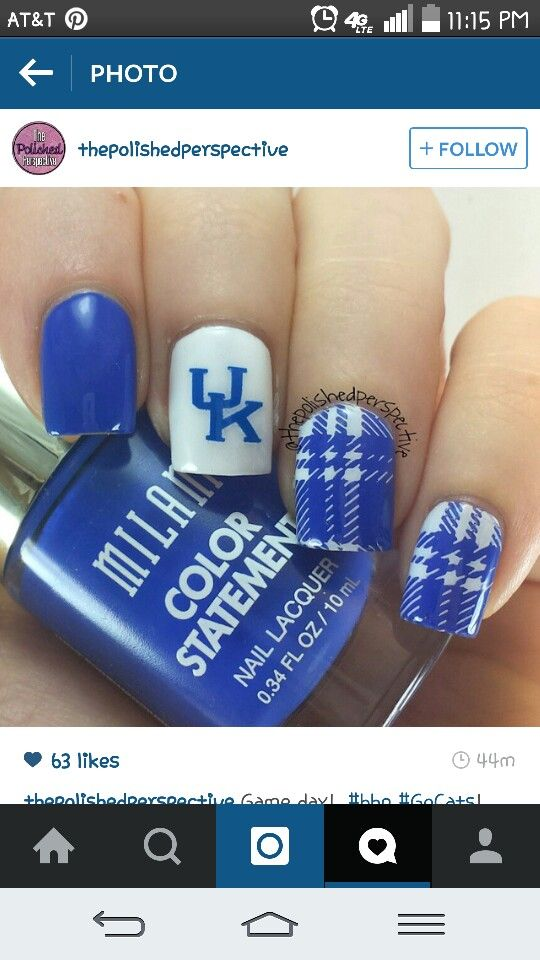 Kentucky Wildcat nails | Kentucky Wildcats | Pinterest | Kentucky ...