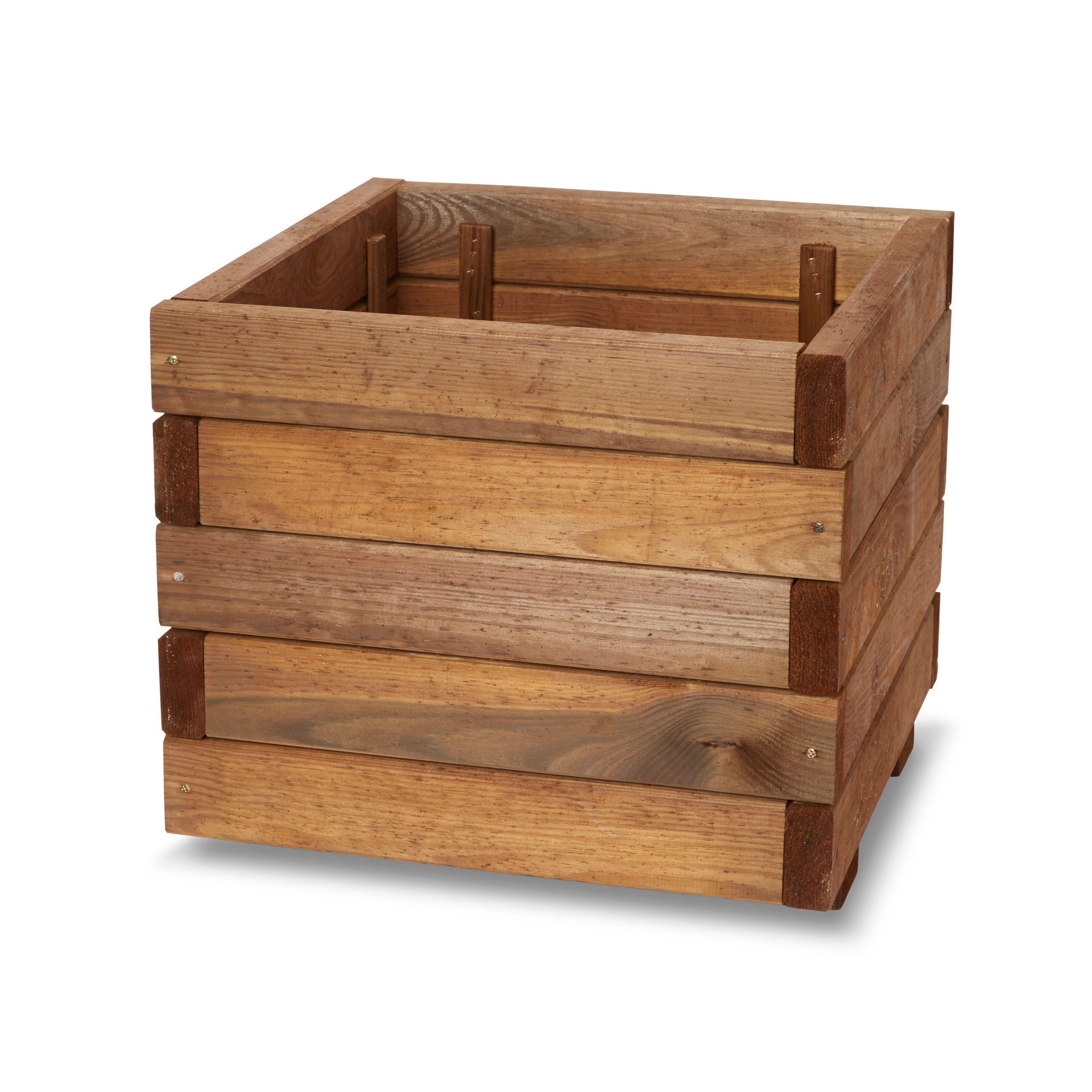 Bopha Square Wooden Planter (H)350mm (Dia)400mm | Wooden planters ...