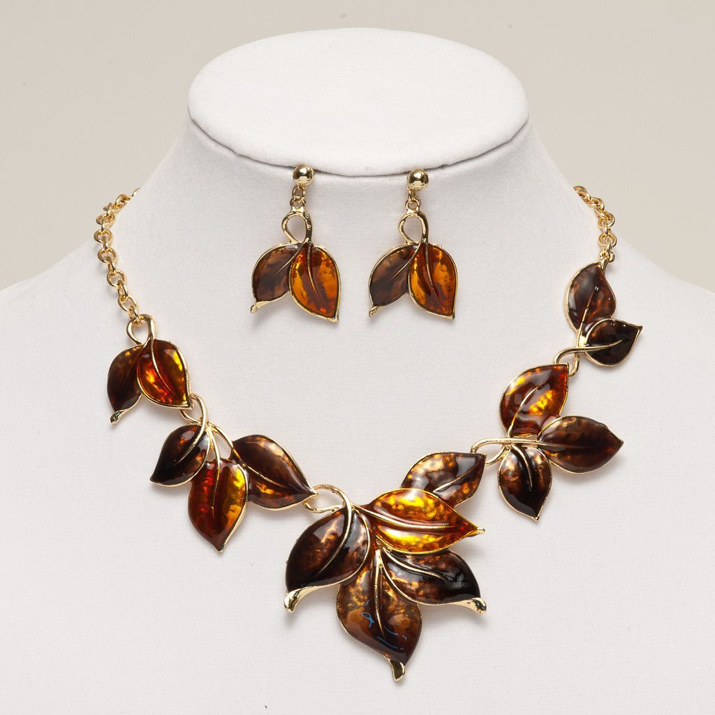Fashion Gold Plated Leaves Necklace Set