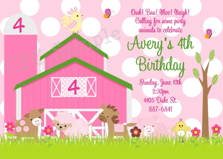 Pink Farm Birthday Invitation - Pink Farm Invitations - Printable or ...