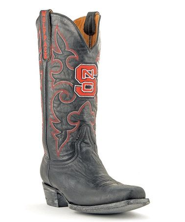 This North Carolina State Wolfpack Black Leather Cowboy Boot - Men is perfect! #zulilyfinds