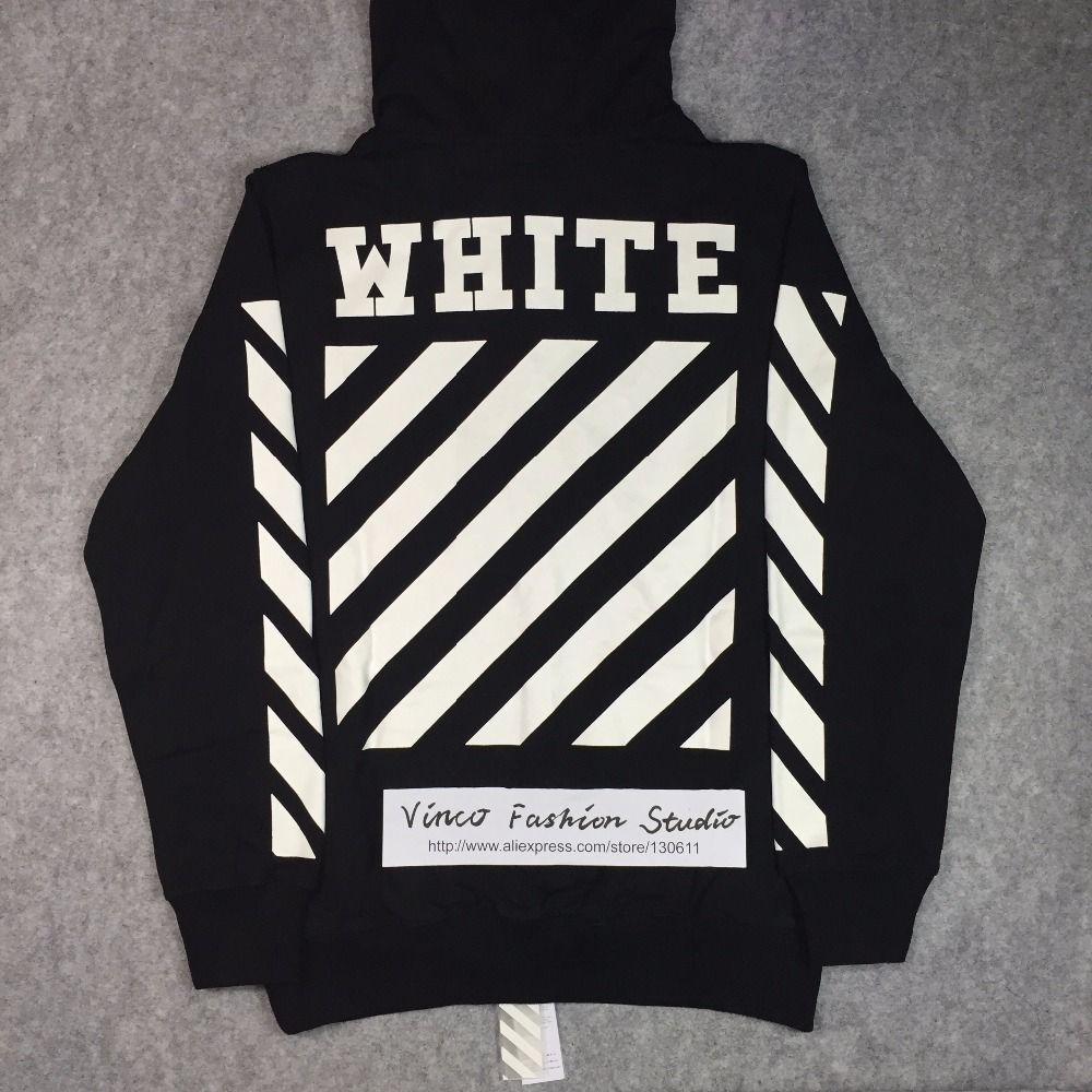 Best Edition 2016 Winter Off White Classic Diagonals Letter Basic Hoodie Jumper Cotton Ml Stripe Print Long Sleeve Pullover