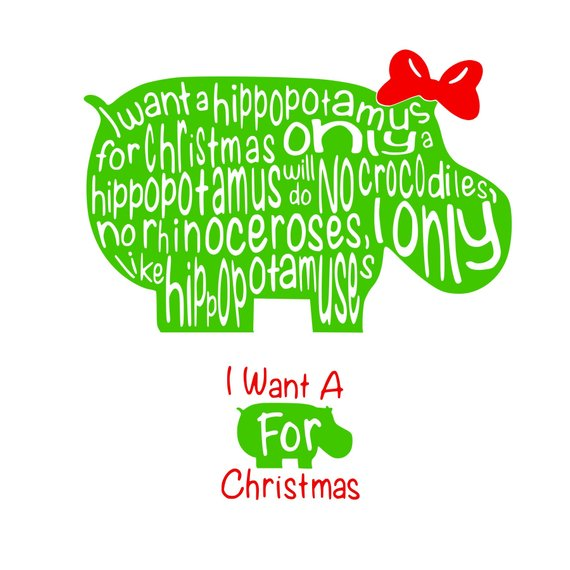 Hippopotamus For Christmas Svg Or Silhouette Instant Download Hippopotamus For Christmas Christmas Vinyl Christmas Svg