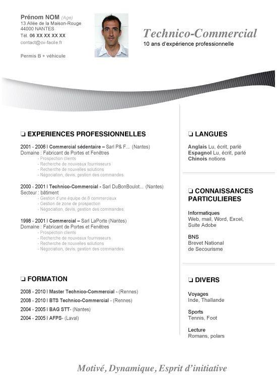 Cv Gratuit Technico Commercial Telecharger Modele Cv
