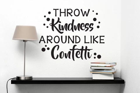 Motivational Quote Vinyl Wall Sticker Decal, Kids Playroom Inspirational Wall Quote Lettering, Office Decor, Gift Teacher Classroom Wall Art #throwkindnessaroundlikeconfetti
