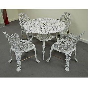 Vintage Victorian Style Cast Aluminum Grapevine Garden Dining Set