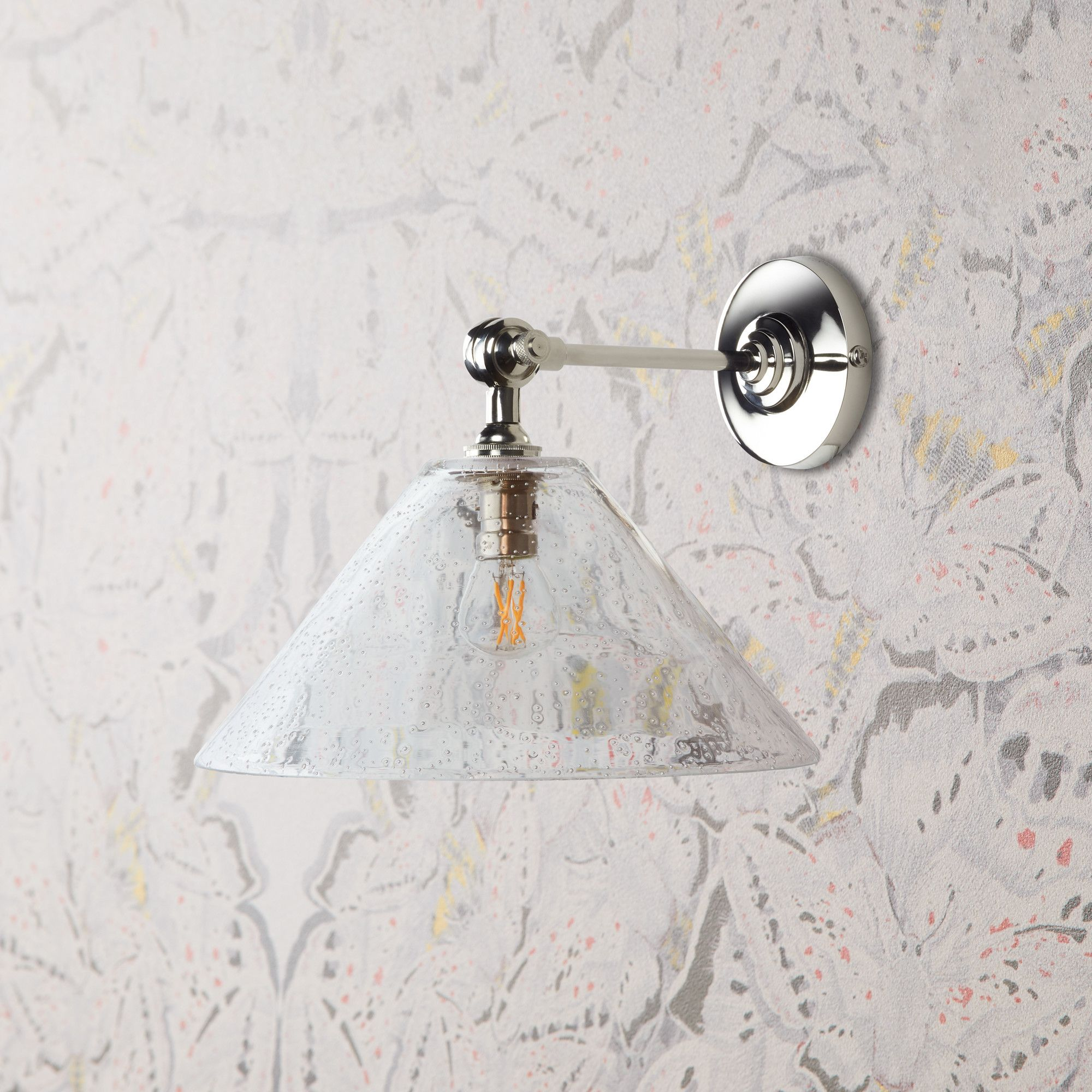 dahlia wall light in clear blown glass with elbow wall