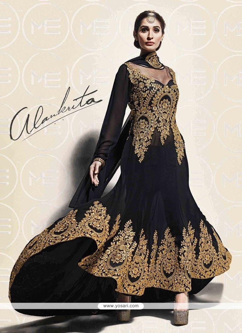 d665261050 Groovy Resham Work Black Georgette Designer Salwar Suit | Anarkali ...