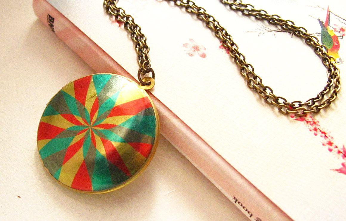 Pinwheel 2 Locket Necklace, Colorful Vibrant Image Photo Pendant, Round Brass Jewelry. $15.00, via Etsy.