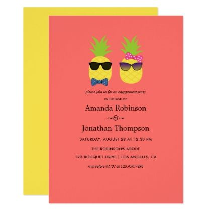 Cute quirky exotic tropical summer fun Engagement Card - wedding - engagement card template