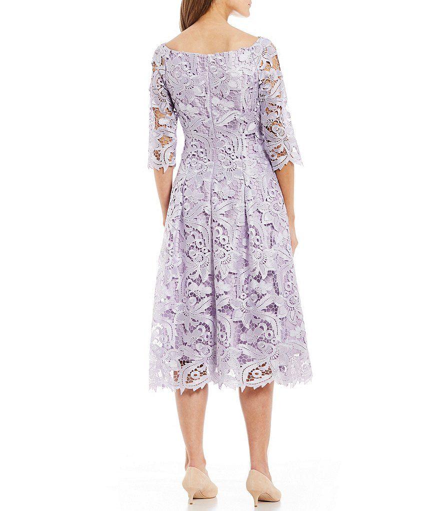 Alex Marie Kate Boat Neck 3 4 Illusion Lace Sleeve Midi Dress Dillard S Midi Dress With Sleeves Dresses Midi Dress [ 1020 x 880 Pixel ]