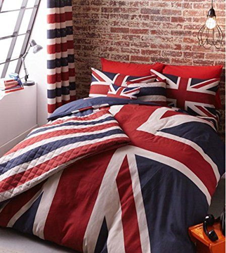 Luxury Cotton Rich Reversible British Finest Union Jack Double Bedding Duvet Set Catherine Lansfield Http Www Union Jack Bedroom Union Jack Decor Union Jack