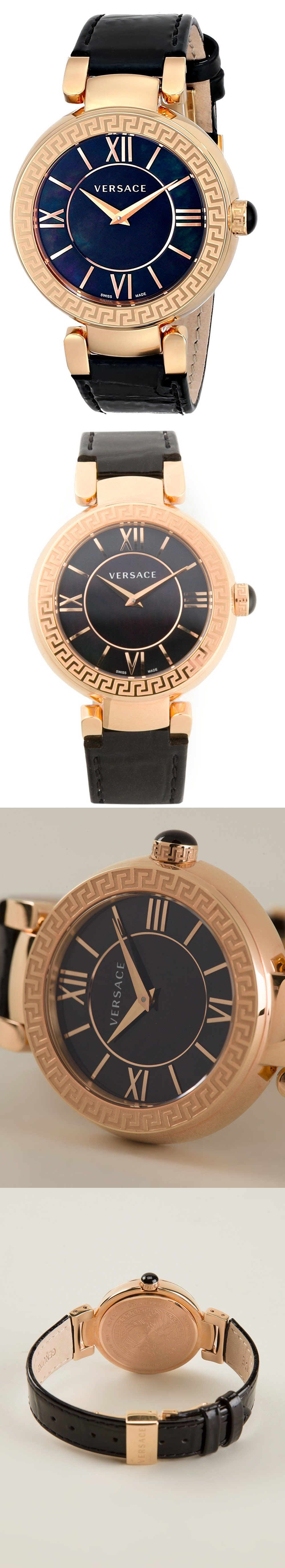 Other Pocket Watches 398: Versace Leda Womens Vnc040014 Gold Ip Steel Case Black Mop Dial Watch BUY IT NOW ONLY: $399.95