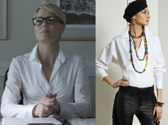 House Of Cards Season 2 Episode 1 Chapter 14 Claire Underwood S Robin Wright White Faux Wrap Crossover Shirt By Ral Fashion Claire Underwood Work Fashion