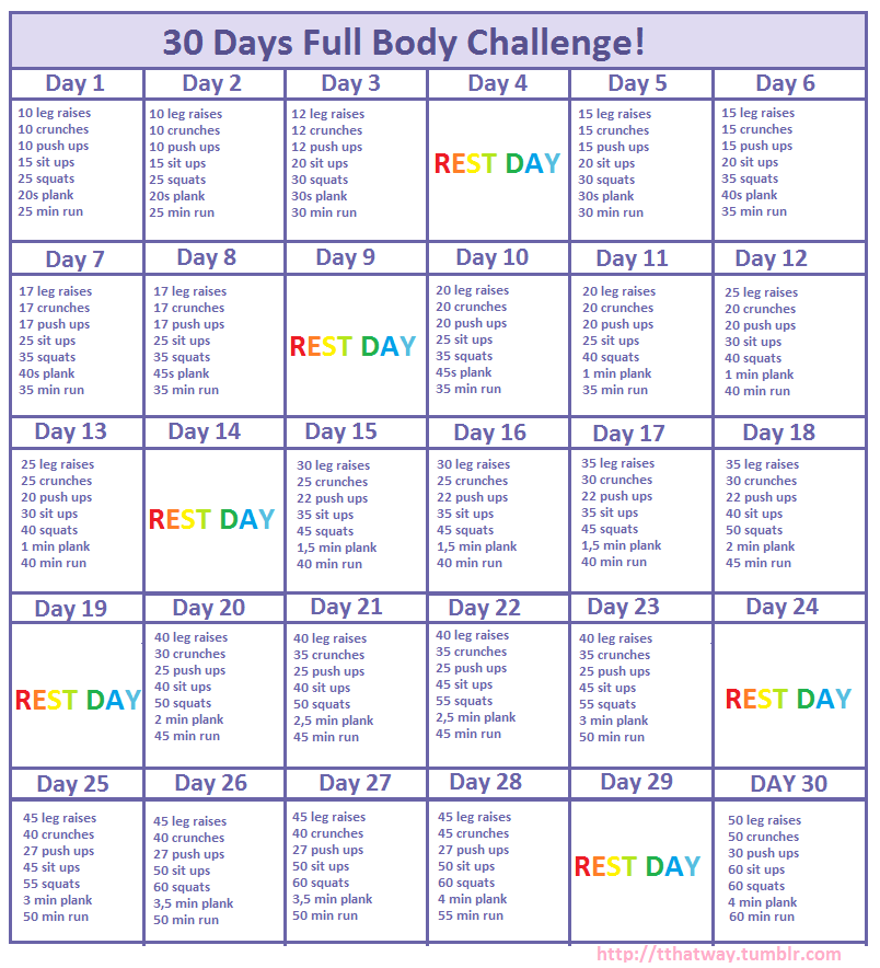 Exercise Workout Plan: My Own 30 Days Full Body Challenge! Please Try It!
