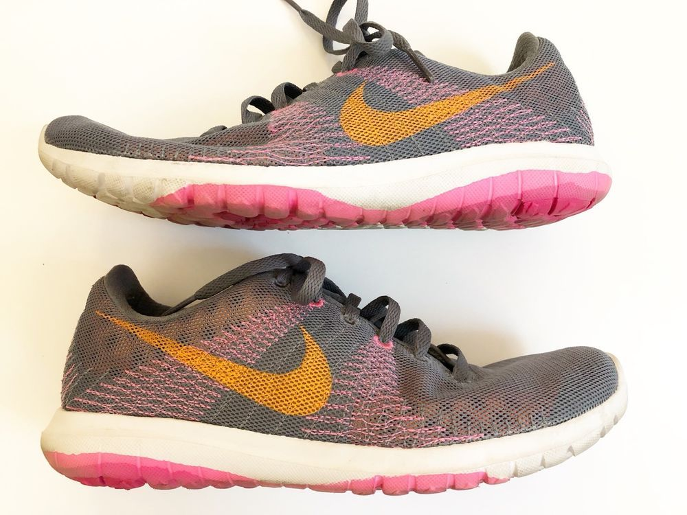 afa07f0467212 Women s Nike FLEX FURY Running Tennis Shoes Sneakers Grey Pink Orange Sz 8.5