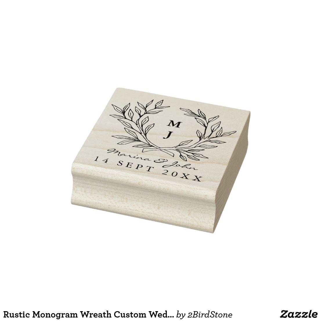 Rustic Monogram Wreath Custom Wedding Rubber Stamp