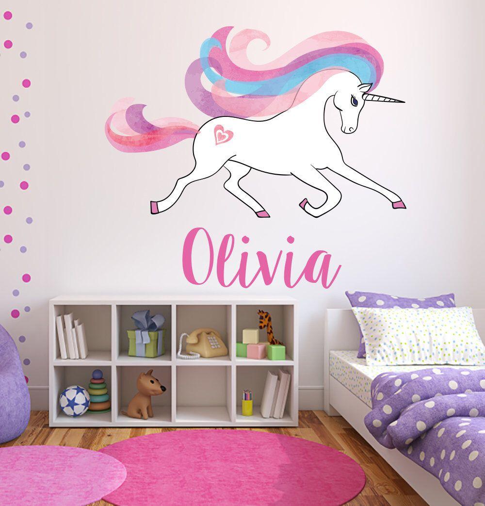 Custom Name Wall Decal - Magical Unicorn Wall Art - Girls ...