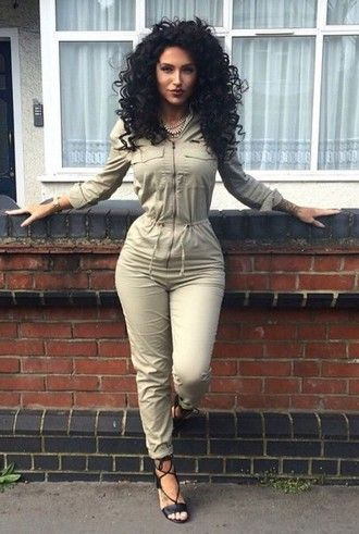 02d6f66e8f82a jumpsuit khaki zip sexy party dresses curly hair brunette high waisted  jumper sweats romper green army green dope dope wishlist stylish olive green