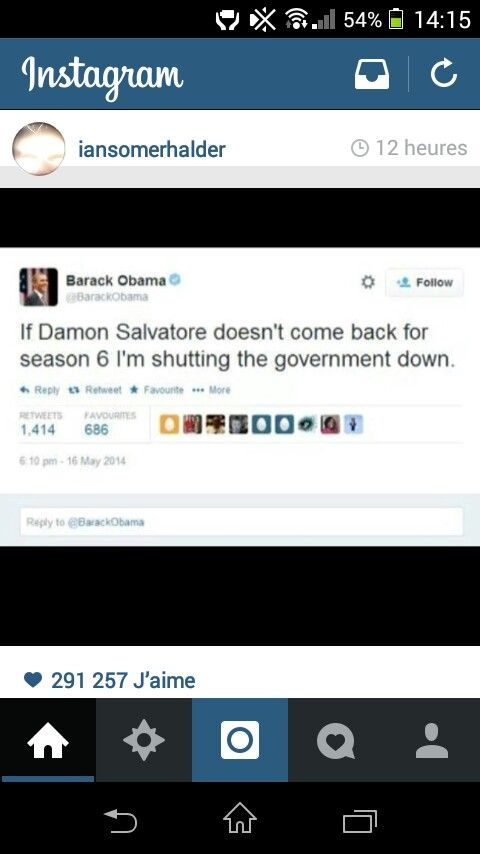 Barack Obama Damon Salvatore Ian Somerhalder The Vampire Diaries Funny Tweet Pic Of Iansomerh Vampire Diaries Quotes Vampire Diaries Funny Vampire Diaries