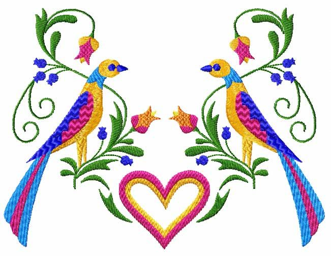 Birds hearts flowers machine embroidery designs set